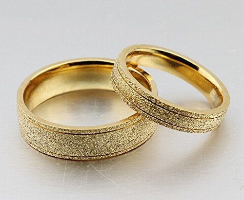 Amazoncom The New Titanium Steel Plated 18k Gold Wedding Rings