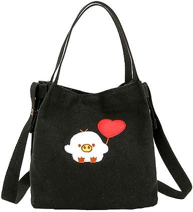 Women Cartoon Canvas Shopping Bag Shoulder Shopping Bag Zipper School Handbag