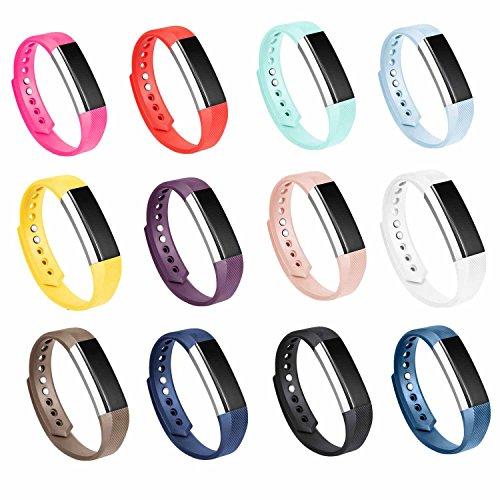 GinCoband 12PCS Fitbit Alta HR Bandas de reemplazo de accesorios con corchete para Fitbit Alta, banda para el brazo deportiva Alta HR sin rastreador (grande)