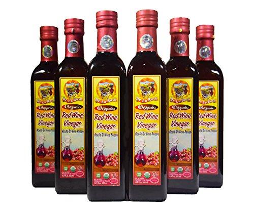 De La Rosa Real Foods & Vineyards - Kosher Organic Italian Red Wine Vinegar - 500 ml (Pack of ()