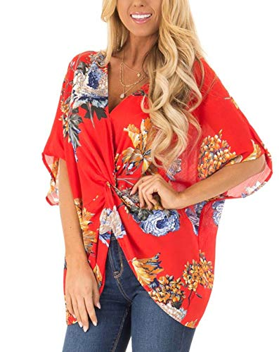 Women's Print V Neck Half Short Cut Sleeve Tops with Twist Knot Front Shirts Blouses (S, Red)