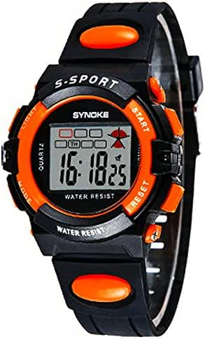 Waterproof Digital Outdoor Sports Watches For Age 5-15 Years Old Boys Girls Kids Watches Black,Orange