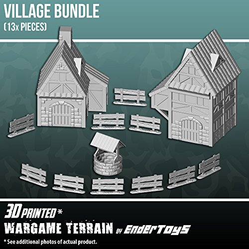 EnderToys Village Bundle, Terrain Scenery for Tabletop 28mm Miniatures Wargame, 3D Printed and Paintable