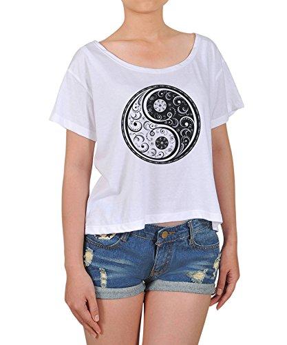 Vietsbay Women's Yin Yang Stamp Printed T-shirt M White