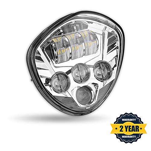 PROAUTO Chrome Bezel Cree Chip LED Motorcycle Headlight wit High 60w Low 40w Beam for Victory Cross-Country Motorcycle headlight Assembly for Victory Vegas (Best Cross Country Motorcycle)