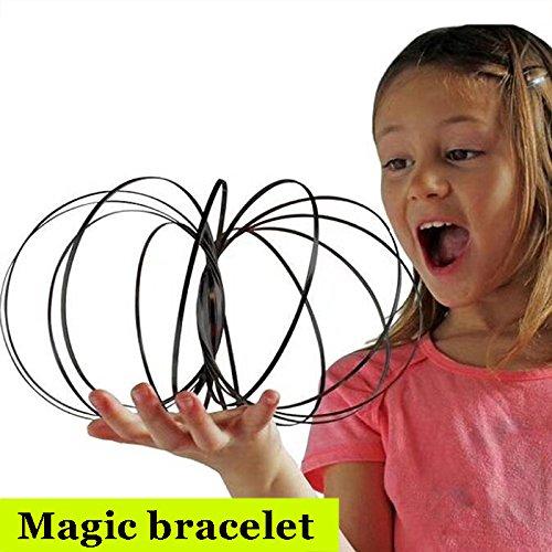 SODIAL Jeu exterieur drole,Jouet intelligent,jouets de flux,Bracelet Fluide,Modele de bracelet magique en acier inoxydable,Deformation du ressort,jouets a rouler colore