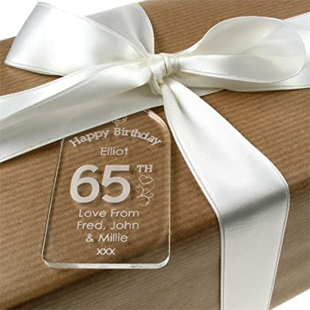 Personalised 65th Birthday Acrylic Gift Tag For Her