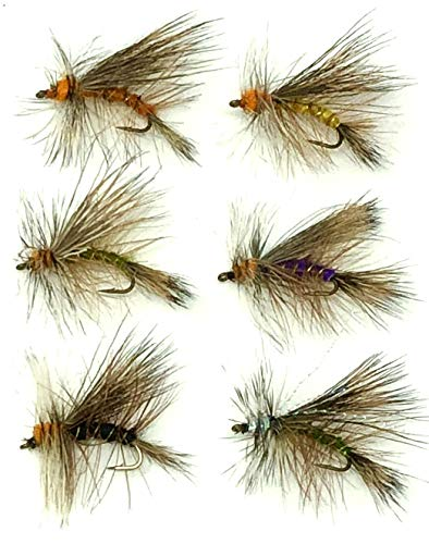 Feeder Creek Fly Fishing Assortment Stimulator Dry Flies for Trout and Other Freshwater Fish - 36 Hand Tied Flies in Sizes 12,14,16 (3 of Each Size) Yellow, Orange, Black, Green, Purple and Crystal (Stimulator Dry Fly)