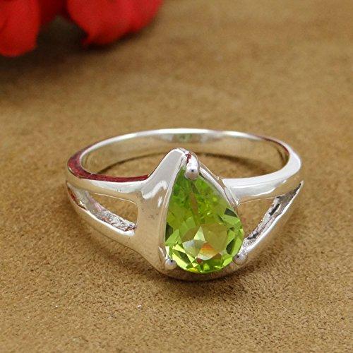 Banithani 925 argent pur bijoux de mode de concepteur de bague péridot étonnante de pierres précieuses