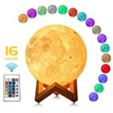 MULTAGFY Moon Lamp Night Light Large 3D Printing Moon Light Touch LED Lamp Brightness USB Lamps Dimmable Gift for Women Kids 16 Colors Remote&Touch Control 7.1 Inch Hellum