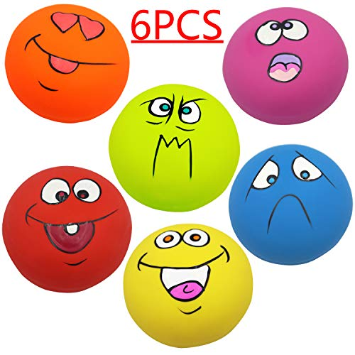 Adusa Latex Dog Chewing Squeaky Ball Toys Face Fetch Play Toy for Puppy Small Medium Pets Dog cat 6PCS/Set ()