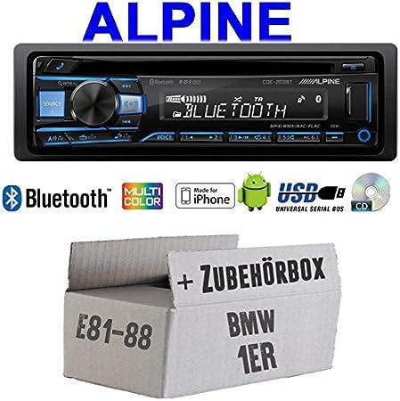 Autoradio Radio Alpine Cde 203bt Bluetooth Cd Usb Mp3 1 Din Auto Einbauzubehör Einbauset Für Bmw 1er E81 E87 Just Sound Best Choice For Caraudio Navigation