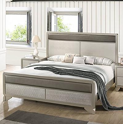 Roundhill Furniture B480QDMN2 Keila Contemporary Wood Bedroom Set, Queen Bed, Dresser, Mirror, 2 Nightstands, Champagne Silver