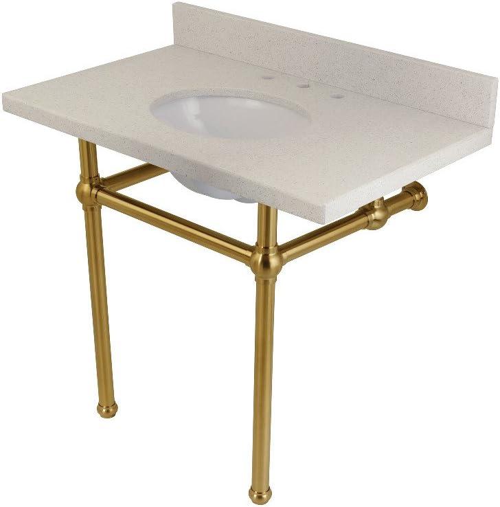 Fauceture Kvpb3630wqb7 Templeton White Quartz Bathroom Console Vanity With Brass Pedestal White Quartz Brushed Brass Amazon Com
