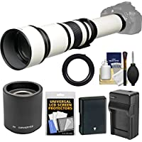 Vivitar 650-1300mm f/8-16 Telephoto Lens (White) (T Mount) with 2x Teleconverter (=2600mm) + EN-EL14 Battery & Charger + Kit for D3300, D3400, D5300, D5500, D5600