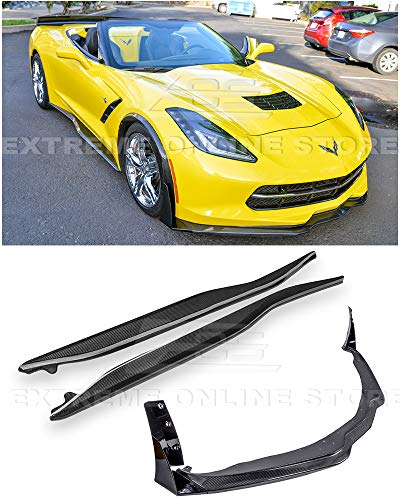 For 2014-2019 Chevrolet Corvette C7 | Z06 Stage 3 Front Bumper Lip Splitter With PAINTED CARBON FLASH Side Extension Winglets & Side Skirts Panel Pair (Carbon Fiber)