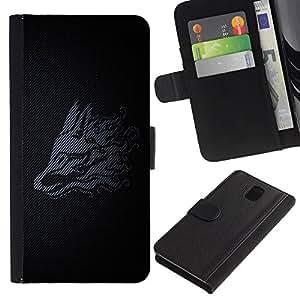 Billetera de Cuero Caso del tirón Titular de la tarjeta Carcasa Funda del zurriago para Samsung Galaxy Note 3 III N9000 N9002 N9005 / Business Style Minimalist Tribal Dragon
