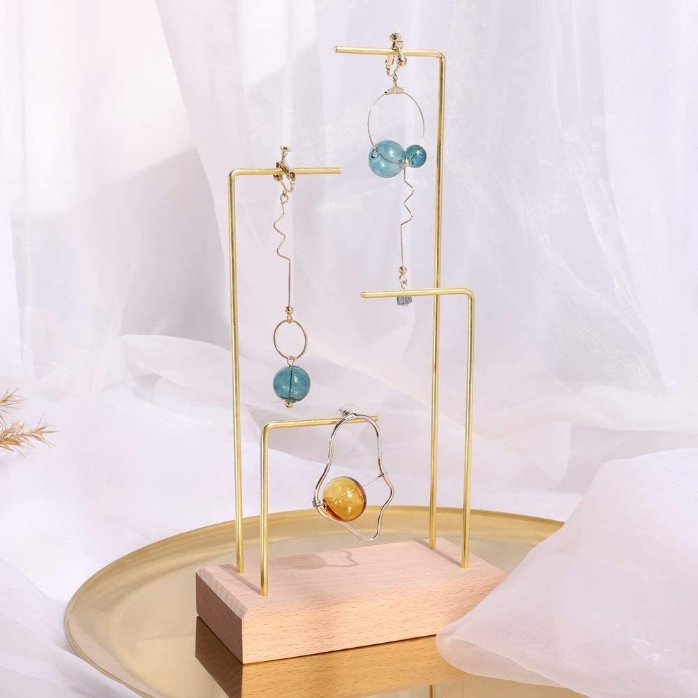 "BanST Beach Brass Necklace Hanging 4 Tier Tall Dangle Hoop Earring Cardboad Storage Display Stands Retail Fancy Jewelry Shelf Wood Ring Holder Bracelet Tray【Beach Brass 4L Shelf Height 9.4""】"