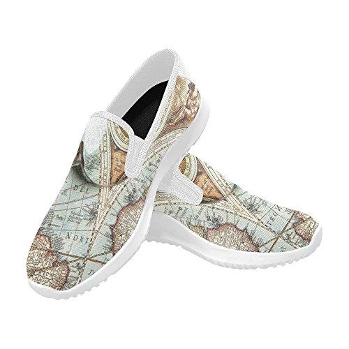 Lente Dingrandimento Di Interesse E Antica Mappa Antica Donna Mocassino Slip-on Scarpe Di Tela Sneakers Multi Moda 1