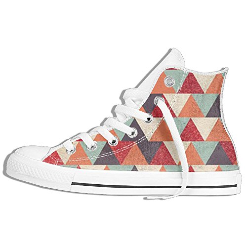 Triangle Background High Top Classic Canvas Shoes Fashion Sneaker White LyOtdL