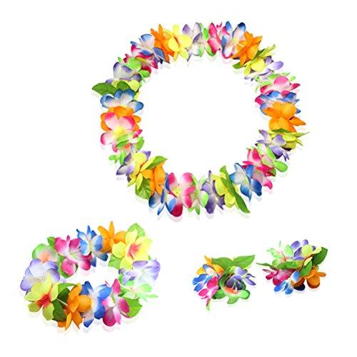 Hawaiian Luau multicolor flower Leis Jumbo necklaces bracelets headband set]()