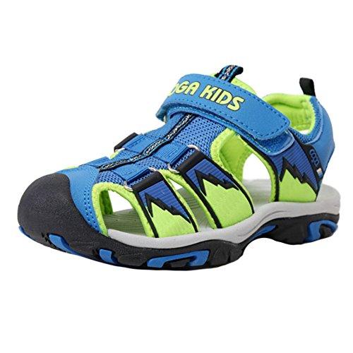 hibote Sport Outdoor Klettverschluss Sandalen Geschlossene Zehe Flache Strand Sommer Schuhe für Jungen Mädchen - 1-16 Jahre Himmelblau