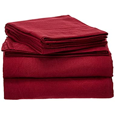 Pointehaven Heavy Weight Solid Flannel Sheet Set, King, Merlot