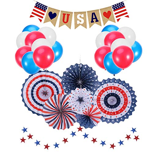 4th of July Decorations |Patriotic Decorations |American Independence Day |July 4th |Include 6pcs Paper Fans |30pcs Balloons |1pcs USA Letter Banner |Star Streamers 1pcs |Party Decor Supplies -
