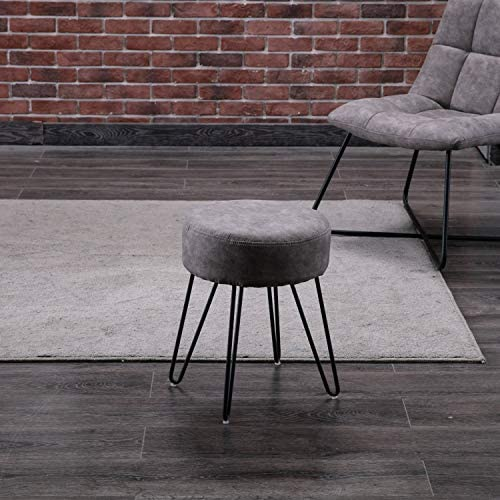 Wahson Rustic Round Ottoman, Footrest Stool with Vegan Leather Upholstery and Metal Legs Grey