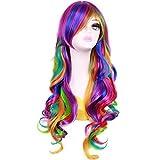 BERON 28 Inches Long Culry Rainbow Wig Girls