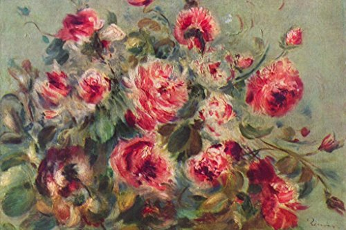 Roses Renoir Auguste Pierre - Poster Foundry Pierre Auguste Renoir Roses of Vargemont Stretched Canvas Wall Art 24x16 inch