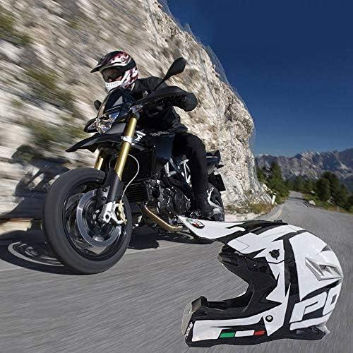 ZJRA Casco Moto Bianco Nero, Casco Motocross, Moto off Road ATV Motocicletta MX, Enduro, Casco Moto per Uomo E Donna Adulto,M:54~56CM