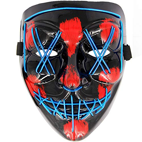 MeiGuiSha LED Halloween Purge Mask,Halloween Scary Cosplay Light up Mask for Festival Parties(Blue) ()