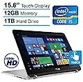 "ASUS 2-in-1 15.6"" Touchscreen Full HD Convertible Premium Laptop, 7th Intel Core i5-7200, 12GB DDR4 RAM, 1TB HDD, Backlit keyboard, 802.11ac, Bluetooth, HDMI, Fingerprint Reader, Win 10"