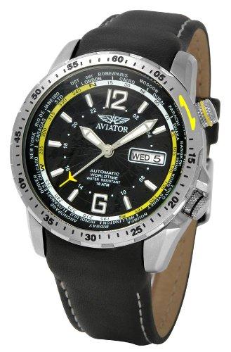 AVIATOR AVW7069G47 - Reloj analógico de caballero de cuarzo con correa de piel negra - sumergible a 100 metros: Amazon.es: Relojes
