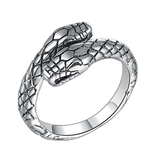 Thai Silver Snake - MetJakt Vintage S925 Sterling Silver Snake Ring for Women and Man Thai Silver Jewelry Adjustable Size Rings (Adjustable)