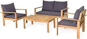 HAPPYGRILL 4-Piece Patio Furniture Set Outdoor Conversation Sofa Table Set with Cushions, Acacia Wood Chairs & Coffee Table Set for Garden Backyard Poolside