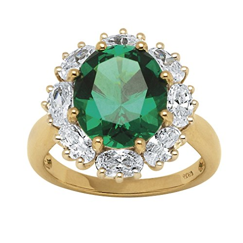Oval Lab-Created Emerald and White Cubic Zirconia 18k Gold over .925 Silver Halo Ring Size 8