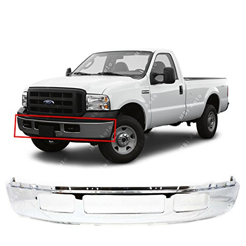 (MBI AUTO - Chrome, Steel Front Bumper Shell for 2005 2006 2007 Ford F250 F350 Super Duty Pickup W/Out Fender Flare Holes 05-07, FO1002392)