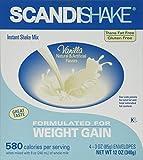 Scandishake Weight Gain Instant Shake Mix Powder, Vanilla, 3 Ounce Packet - Box of 4