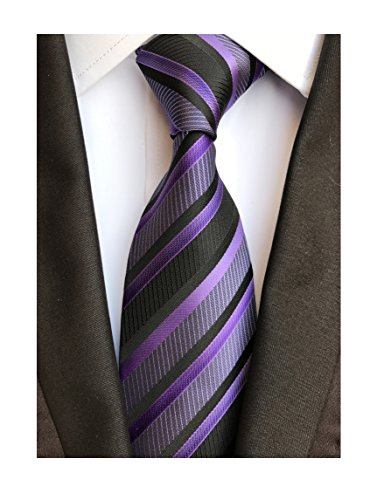 Secdtie Men's Classic Stripe Jacquard Woven Silk Tie Formal Party Suit Necktie (One Size, Black ()