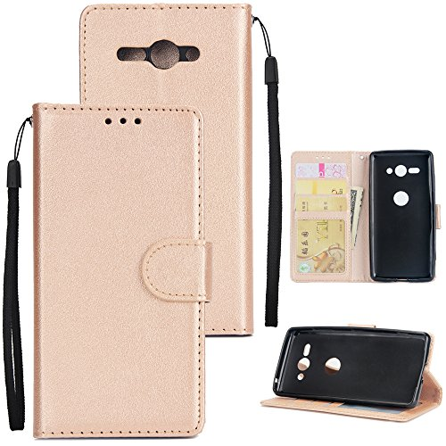 Price comparison product image Sony Xperia XZ2 Compact Case,  Wallet Case,  Lifeepro Premium PU Leather Flip Protective Case Cover with Card Slots and Kickstand for Sony Xperia XZ2 Compact - Golden