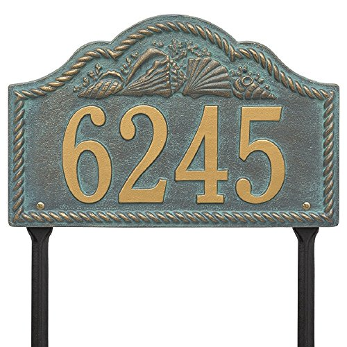 "Rope Shell Arch Lawn Address Plaque 15.5"" x 10"" (1 Line) -"
