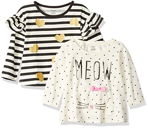 Gerber Baby Girls' 2-Pack Tops, Meow/Hearts, 18 Months