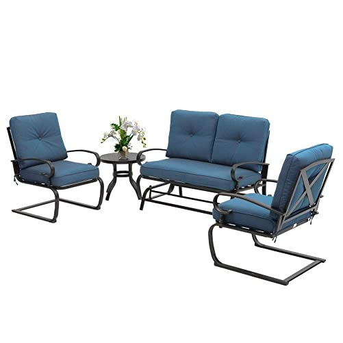 Oakmont Outdoor Patio Furniture Conversation Set Glider Loveseat, 2 Chairs with Coffee Table Spring Metal Lounge Chair Sets Wrought Iron Frame, Peacock Blue