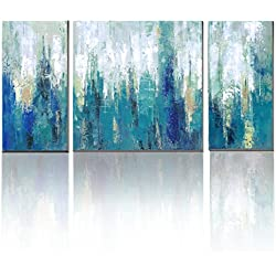Blue Abstract Modern Canvas Print 3 PanelWith Embellishment Wall Pictures for Home Decoration,Ready to Hang!