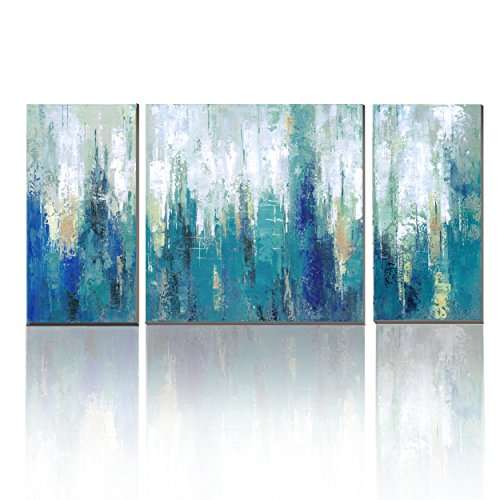 Cubism  Canvas 3 Panel Cool Blue Abstract Modern Print With Embellishment  Wall Pictures For Home Decoration ,Ready To Hang!
