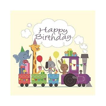 OERJU 2,5x2,5m Cumpleaños Fondo Tren de Juguete Elefante de ...