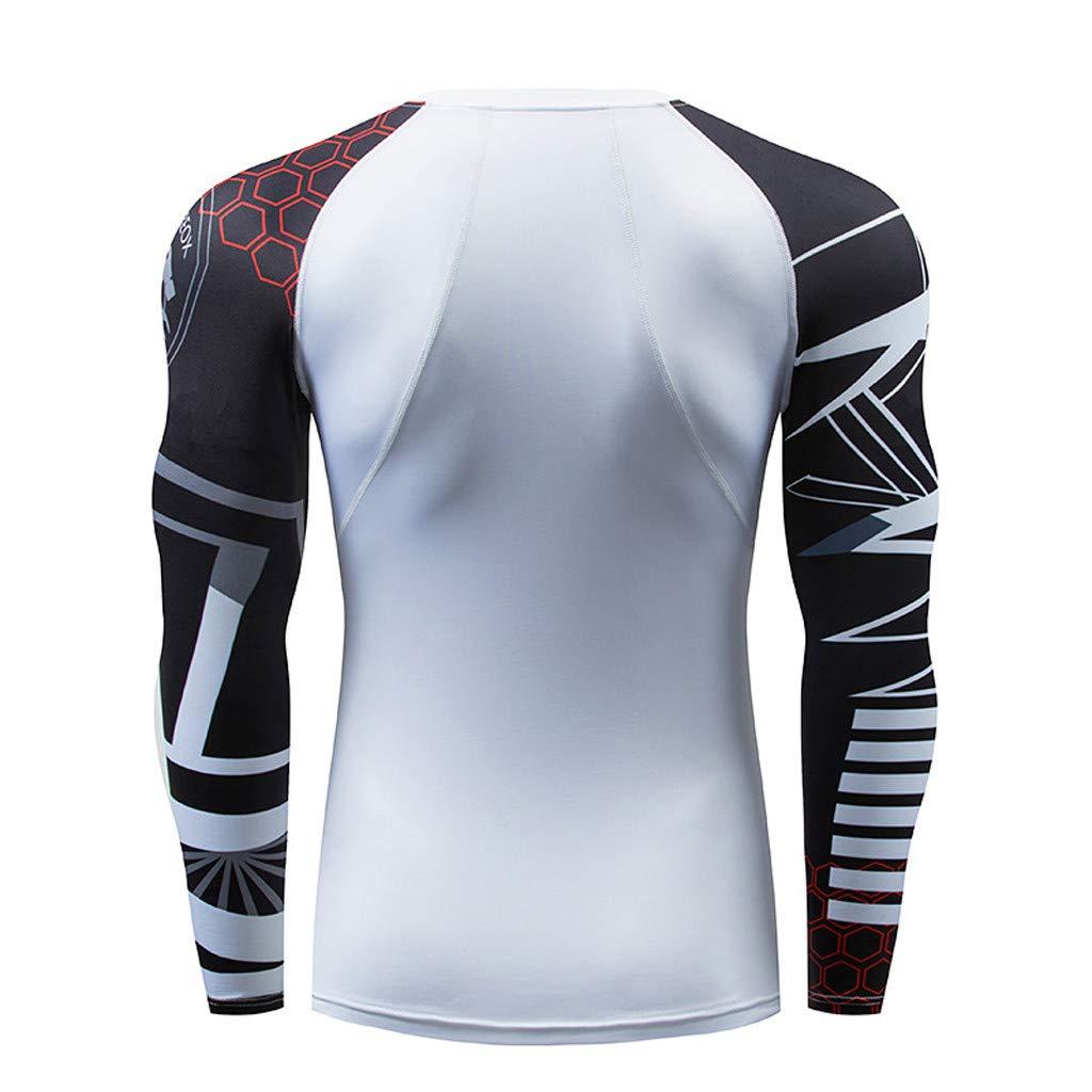 Mens Casual Fitness T-Shirt Fast Drying Elastic Tops Pants Sports Tight Suit Palarn Mens Fashion Sports Shirts
