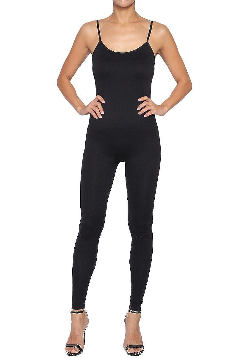 TheMogan Women's Spaghetti Strap Long Jumpsuit & Short Romper Bodysuit One Piece 714_BLK_OSZ